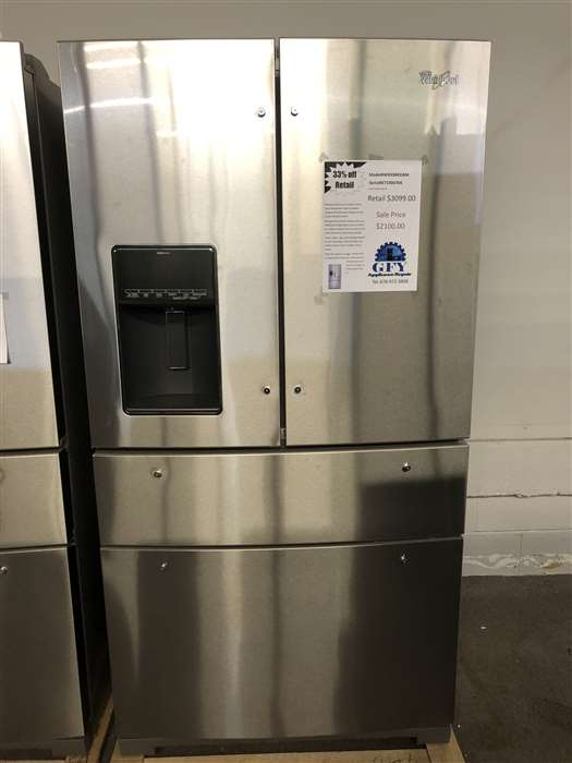 4-door whirlpool stainless steel refrigerator