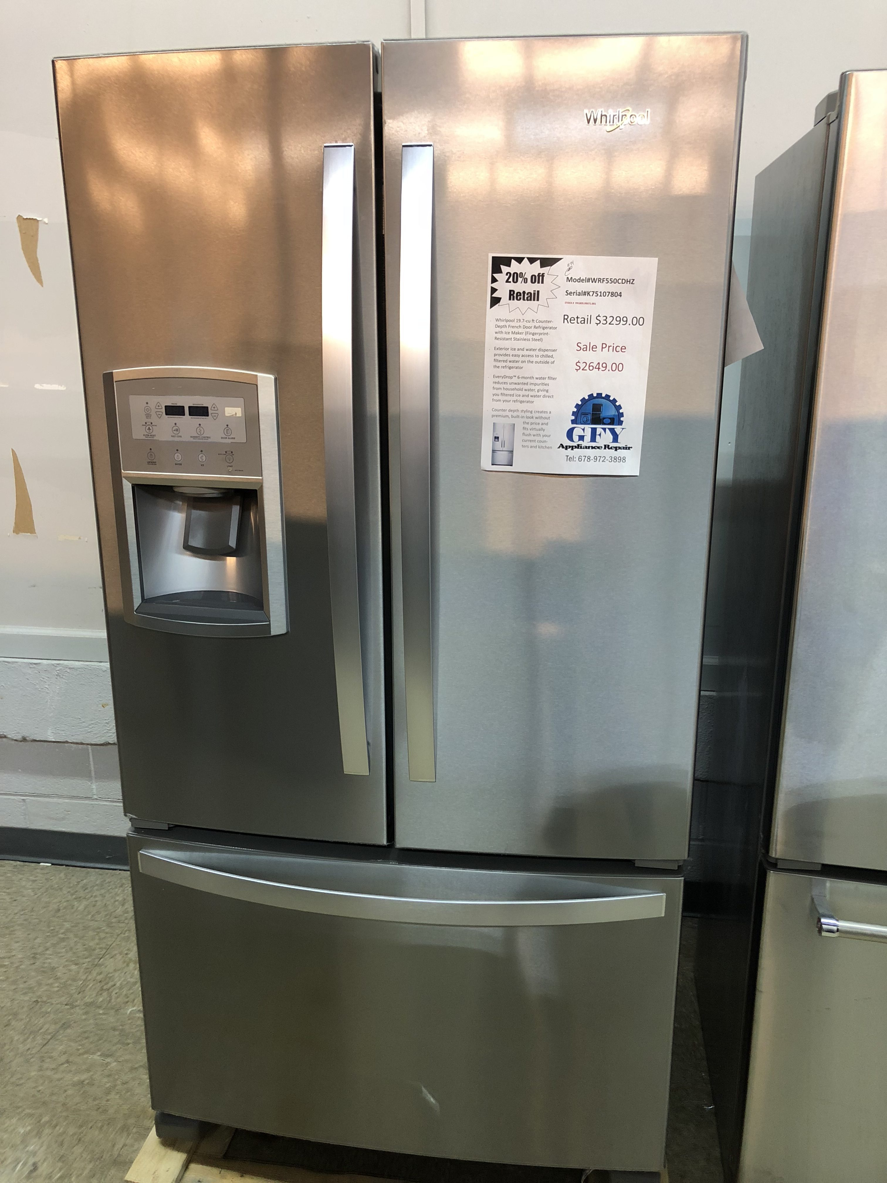 Whirlpool Counter Depth French Door Refrigerator Ss Gfy