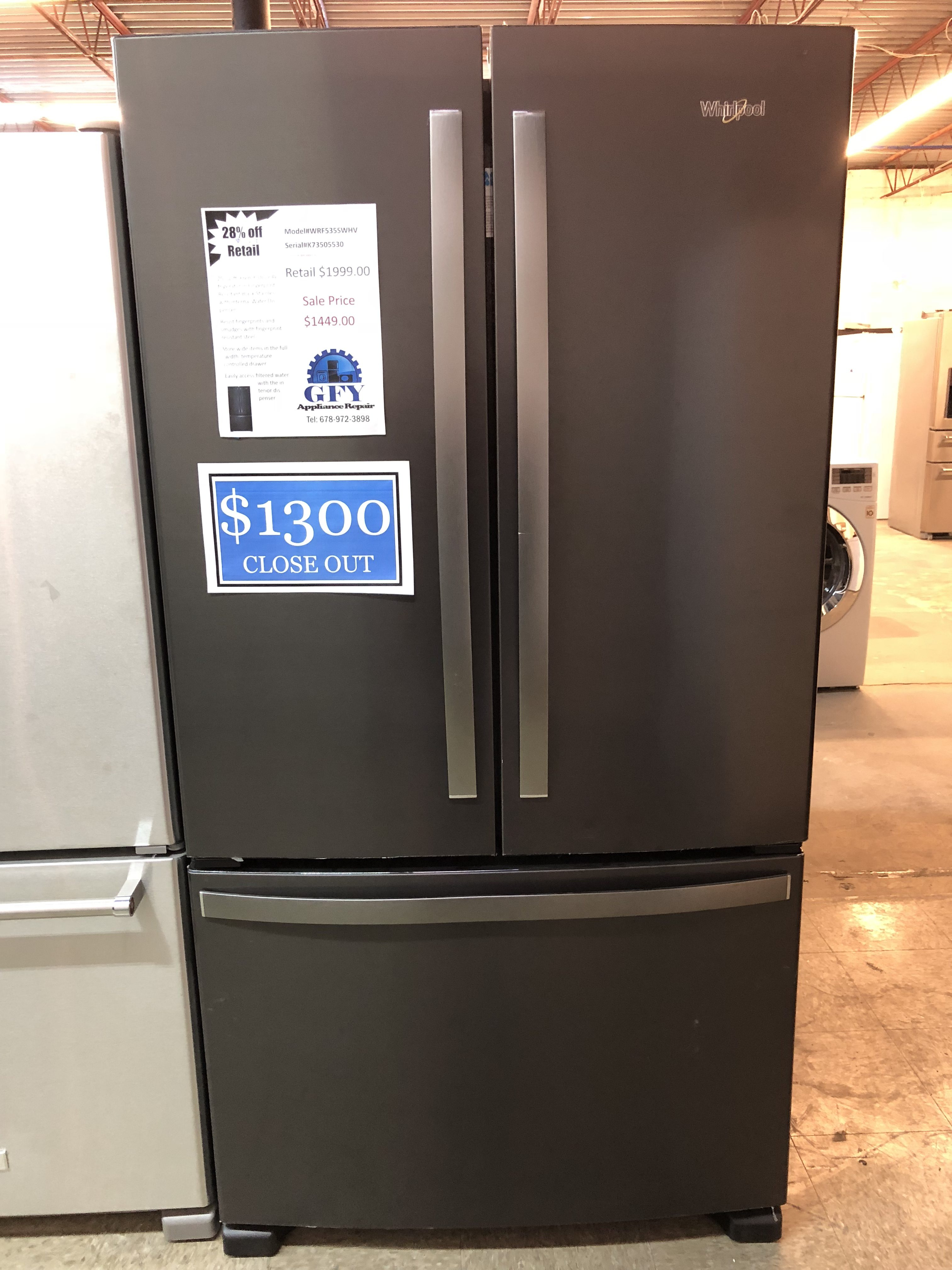 whirlpool french door refrigerator black stainless