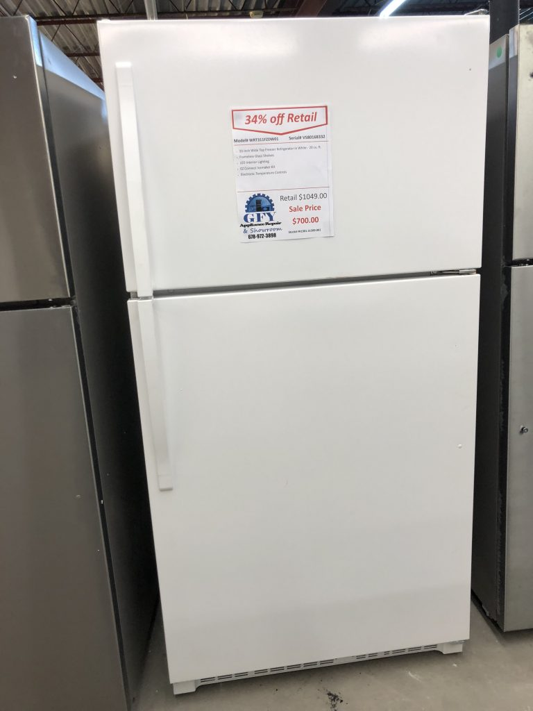 Whirlpool Top Freezer Refrigerator White Gfy Appliance