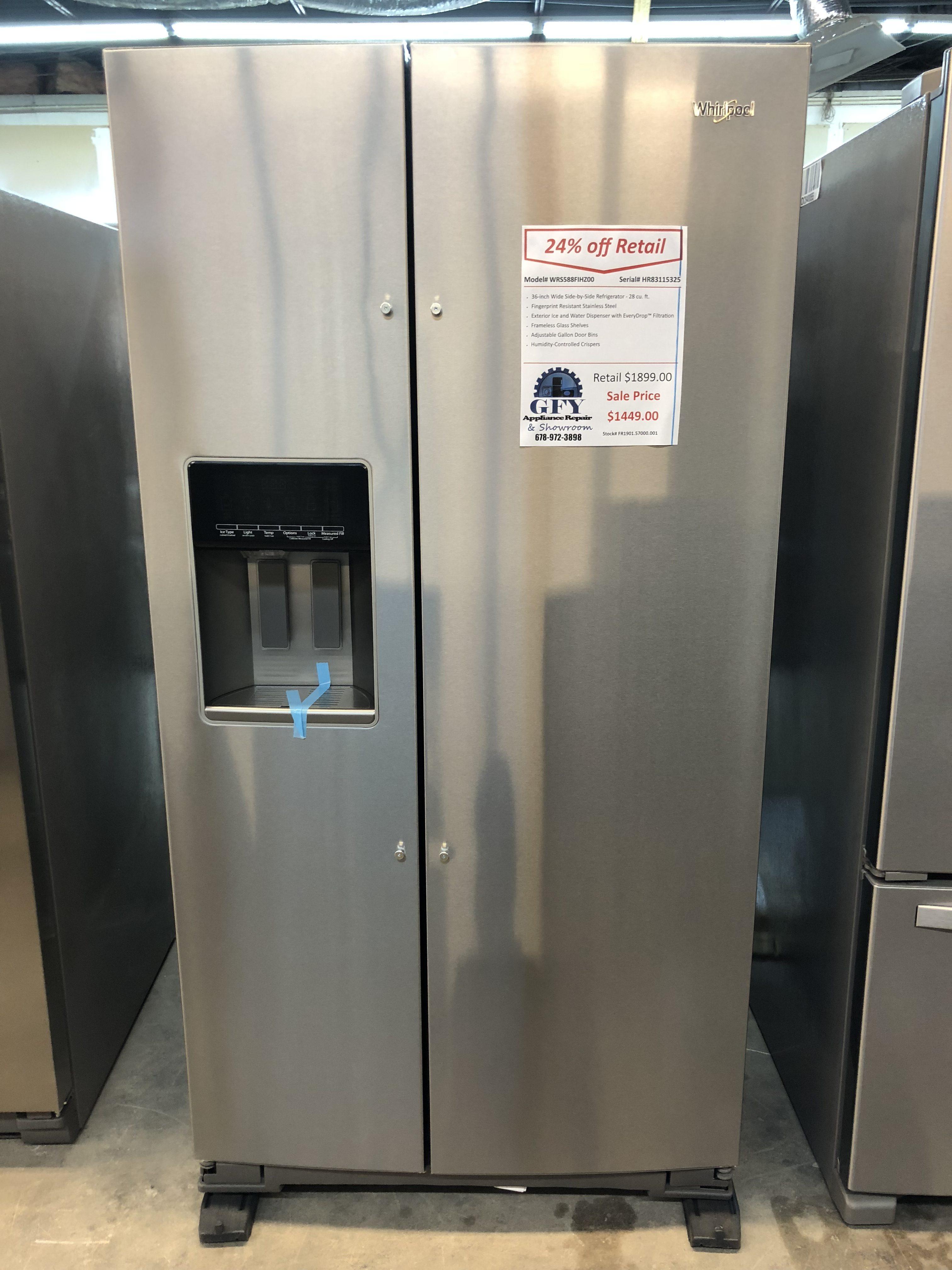 Whirlpool Side By Side Refrigerator Ss Gfy Appliance