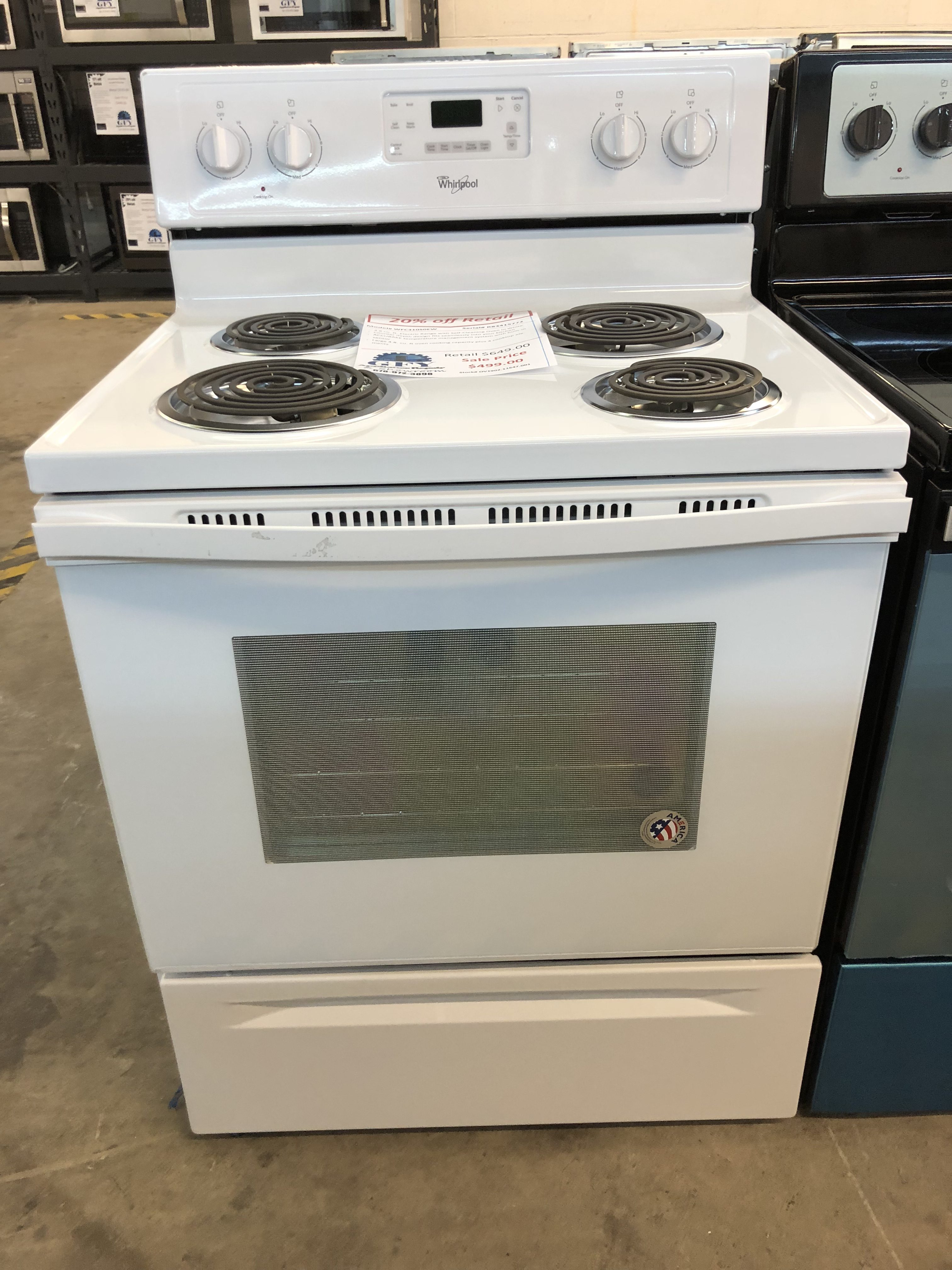 Whirlpool Coil Top Electric Range White