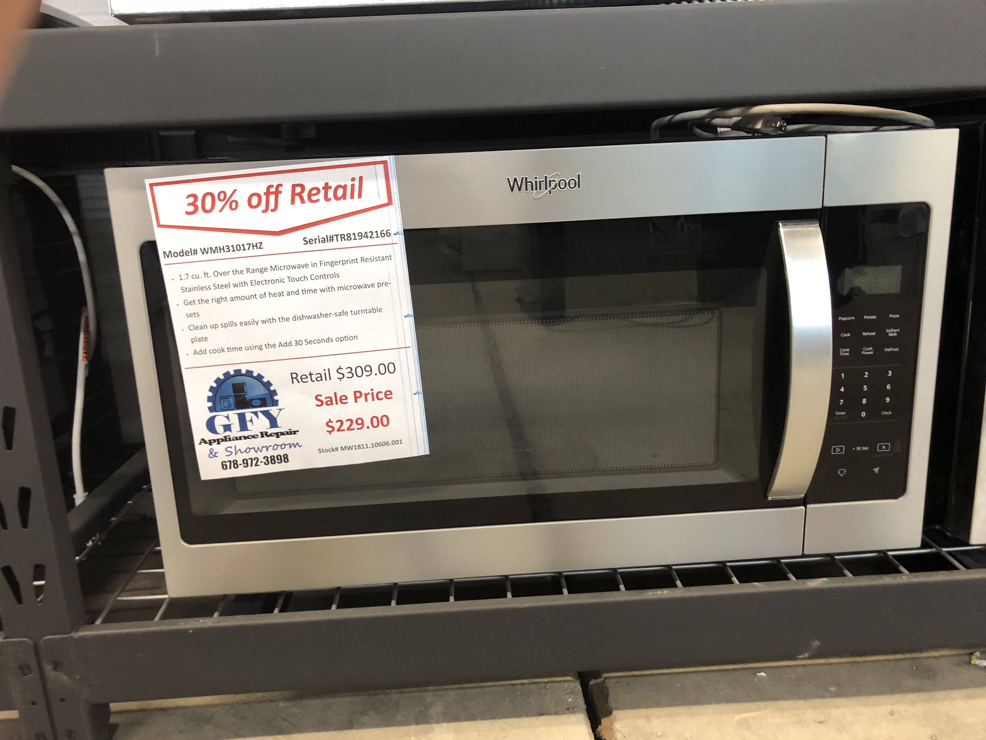 Whirlpool Over The Range Microwave Ss